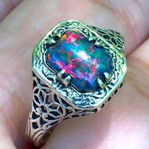 Filigree Black Opal 925 Sterling Silver Ring